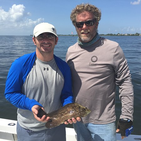 Apollo Beach, FL: Capt. Shawn and Anthony with his Triple tail