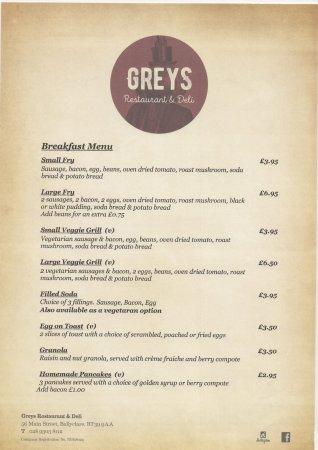 Ballyclare, UK: breakfast menu served mon - sat 9am - 12 noon