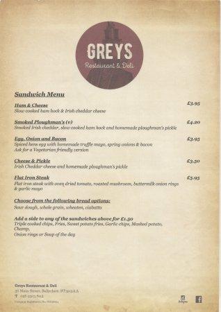 Ballyclare, UK: lunch sandwich menu monday - Saturday 12 noon - 3.30pm