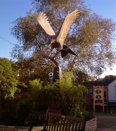 """Spirit in the sky"" by Sandy O'Connor, Town Square, Llanwrtyd Wells. Donated by the sculptor."