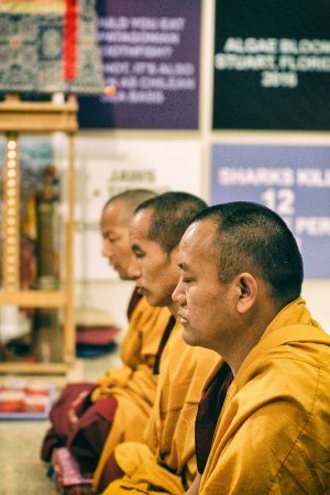 Tequesta, FL: Meditating monks during the ceremony