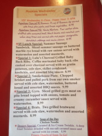 Mazomanie, WI: Daily specials for the day I was there