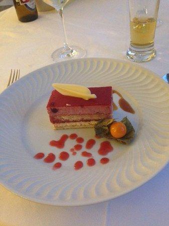 Quinta da Bela Vista : a typical dessert with layered cake, coulis, choc leaf and kumquat - very nice!