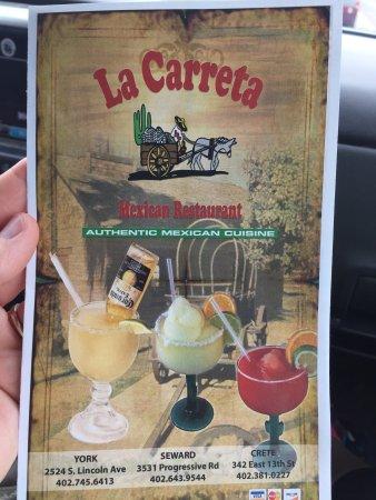 ยอร์ก, เนบราสก้า: La Carreta menu