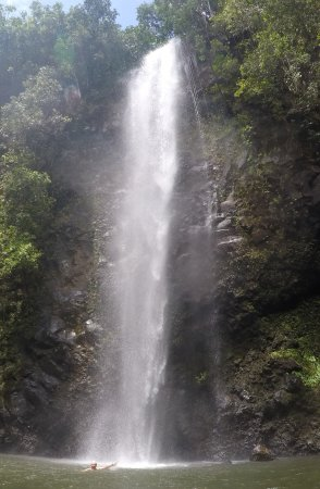 Wailua, HI: Swimming under the falls is refreshing after the hike.