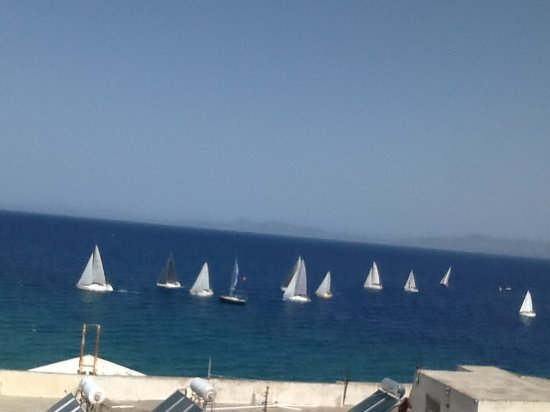 Agla Hotel: Yacht race. View from fifth floor room.