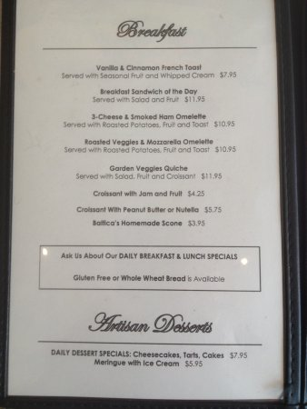 Port Washington, Висконсин: Breakfast menu
