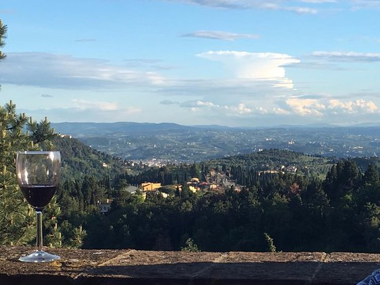 Montorsoli, Italy: View of Florence from outdoor patio at La Paggeria