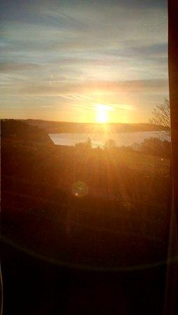 Beer, UK: Sunset from caravan window