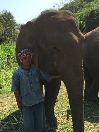 Anantara Golden Triangle Elephant Camp & Resort: Mahout with his elephant