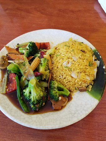 Surry, VA: Mixed veggies in a spicy sauce, as requested, with fried rice