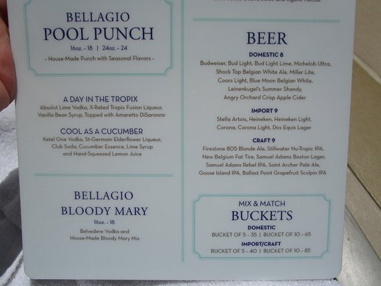 specialty drink menu with prices at the pool - picture of bellagio