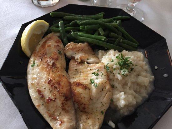 Joliet, IL: Sautéed grouper, risotto, green beans
