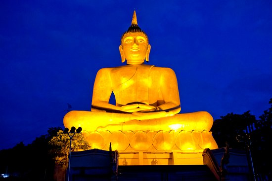 Pakse, Laos: The Golden Buddha at dusk