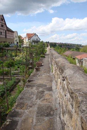 Marbach am Neckar, Germany: Ein kleines Stück kann man auf der Mauer gehen