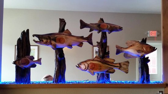 Cascade, ID: Carved fish at entrance to Remington's