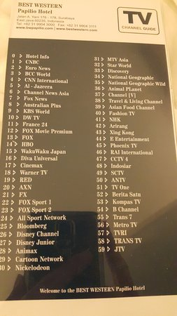 Channel list - Picture of Best Western Papilio Hotel