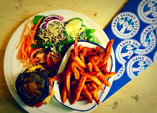 Par, UK: Fun Guy, Skinny Kitsch Mushroom Burger and sweet potato Fries