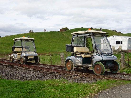 Taumarunui, Nuova Zelanda: The self drive carts used for the tour.