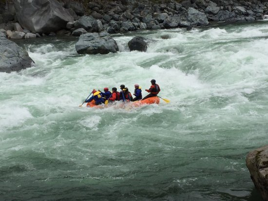 Index, WA: Rafting the Skykomish River in early May.  The lower section of a Level IV series of rapids.