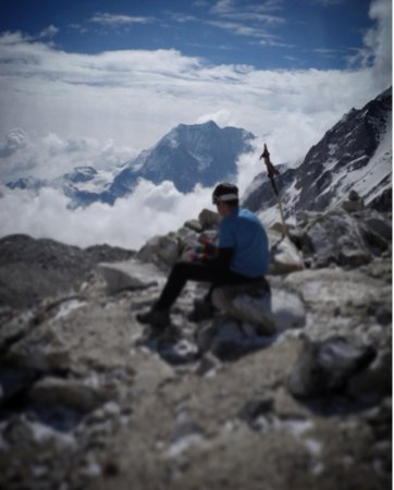 Kathmandu Valley, Nepal: Sitting at the highest point of this trek - Larkya La Pass (5143)
