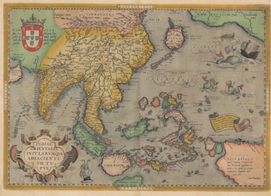Map 0f Asia.Original Antique Map Of South East Asia Form The Year 1581
