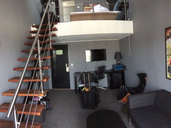 Scandic Front: View of room from balcony (excuse the messiness; I was checking out)