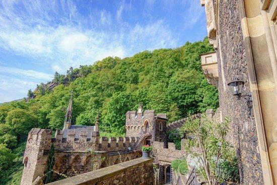 Trechtingshausen, Alemania: The wooded hillside behind Rheinstein Castle