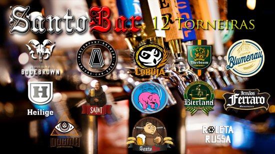 Chapeco, SC: O Santo Bar conta com 12 opções de chopps nas torneiras e 50 variedades de cervejas especiais!