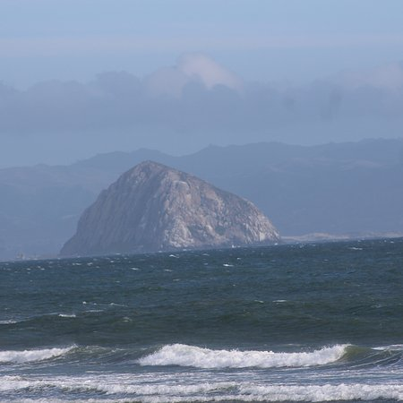 Cayucos, CA: View of Morro Rock from sea wall