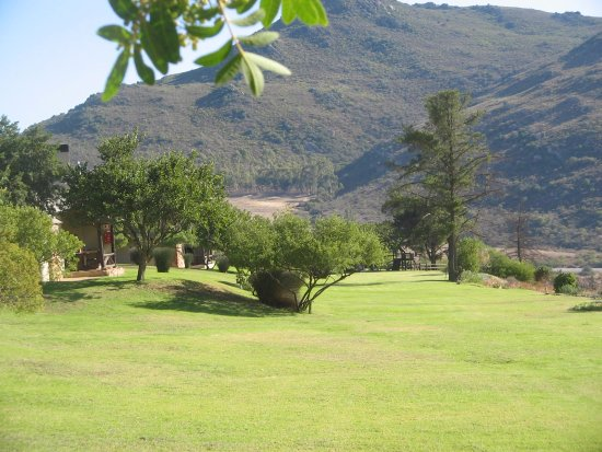 Citrusdal, South Africa: View of part of the garden in front of our chalet and on towards the Hotel