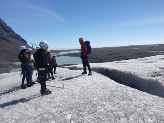 Hofn, Iceland: informational stop near a crevasse
