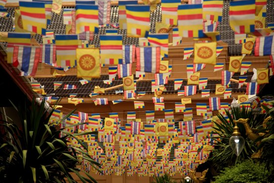 Temple of the Great Relic (Wat Mahathat): Celebratory flags at Wat Mahathat