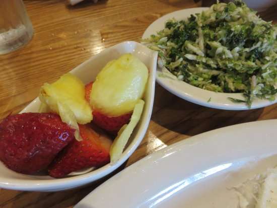 Roanoke Rapids, NC: Sides - fresh fruit cup and the new brussel sprouts n kale salad