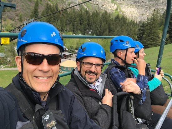 Sundance, UT : Lift ride up to the ziplines.
