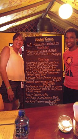 Madre Tierra Puerto Viejo: The menu and our waiter