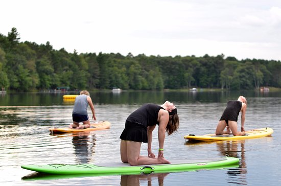 Saint Germain, WI: SUP Yoga with YogaPaddler at Cedaroma Lodge in 2016