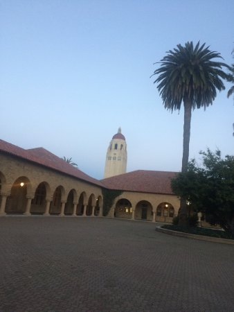 Palo Alto, CA: Hoover Tower from in front of Memorial Church at dusk.
