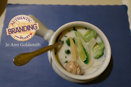 Wellesley, MA: Pretty to look at, this Tom Kha Soup was too watery for my taste & so 'chunky' it was hard to en