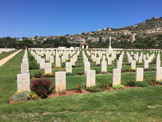 Souda, Greece: overview of the cemetery with the small chapel in the rear