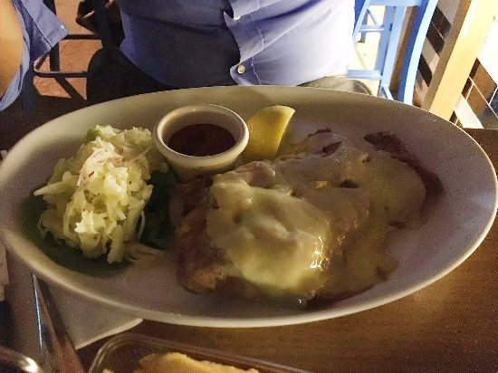 Bavarian Bier Cafe: schnitzel with melted cheese and ham