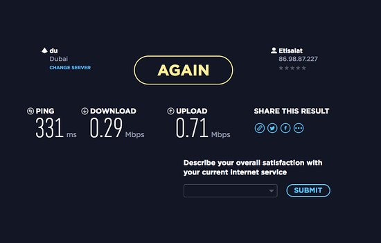internet speeds at this hotel are extremely bad speed test