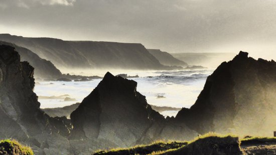 North Devon Coast Area of Outstanding Natural Beauty: View of coastline from Hartland Quay.