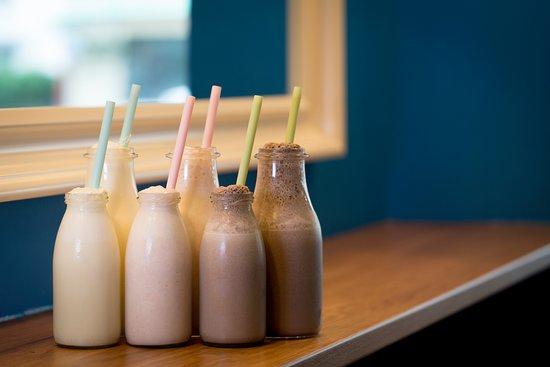 Devizes, UK: Children and adult sized milkshakes