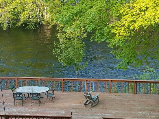 Henniker, NH : The view of the Contoocook river from the private balcony in the Tooky Nook room.