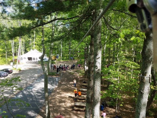 Storrs, CT: View from the zip line to the wedding ceremony