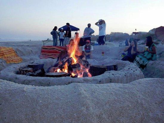 Bonfire on the beach in Atlantic Beach.
