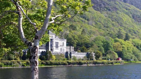 Kylemore, Irlandia: A view of the Abbey with the scaffolding hidden behind the tree.