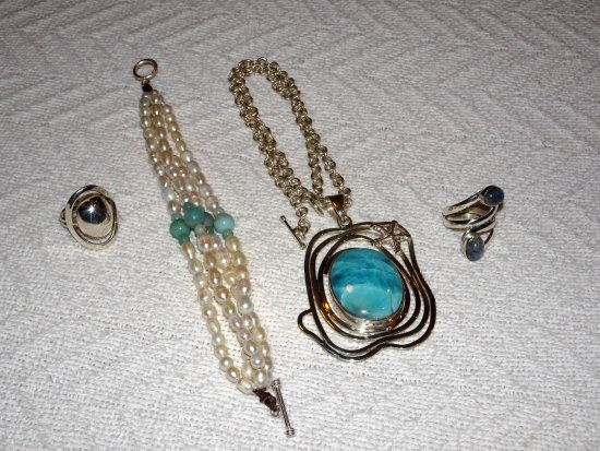 Karma Jewelry Design : There is another bigger beautiful Larimar Pendant not included in this photo.