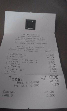 Vilafranca del Penedès, España: la cuenta...18 euros menu fin de semana no esta mal.